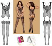 Obsessive Lingerie [ UK 6 - 12 ] Black F229 'Seductive' Bodystocking (E29923)